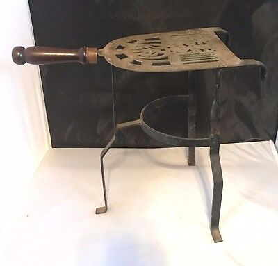 Vintage Wrought Iron Brass Fireplace Fender Trivet Pot Kettle Warming Stand