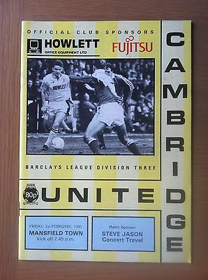 Cambridge United V Mansfield Town 1990-91
