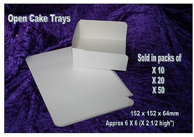 CAKE serving TRAY open 3 sided disposable white card box flat pack 15 X15cm  6""