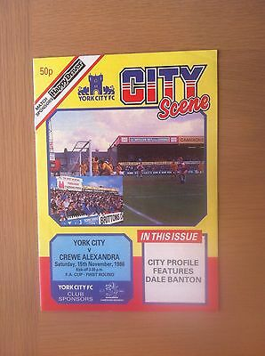 York City V Crewe Alexandra 1986-87