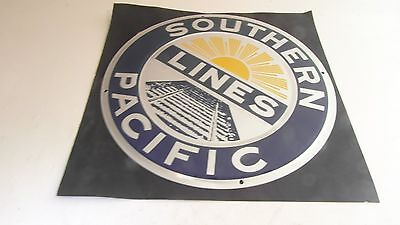 ++ IT09 Microscale Southern Pacific SP Metallemblem 20cm Die-Cut Metal Sign NEU
