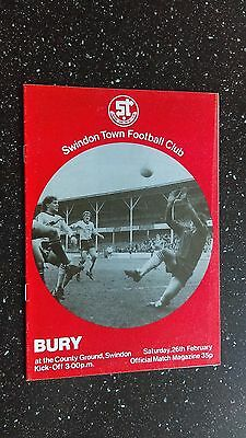 Swindon Town V Bury 1982-83