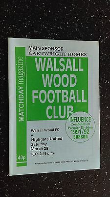 Walsall Wood V Highgate United 1991-92