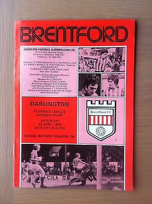 Brentford V Darlington 1977-78