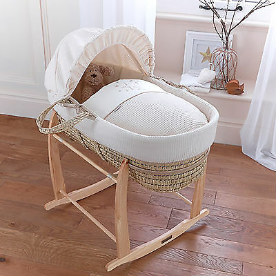 New 4Baby Twinkle Cream Palm Unisex Baby Moses Basket & Deluxe Rocking Stand