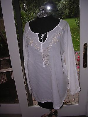 #49 Womens Peasant Renaissance Medieval Fantasy Poetic White Embroidery Shirt L