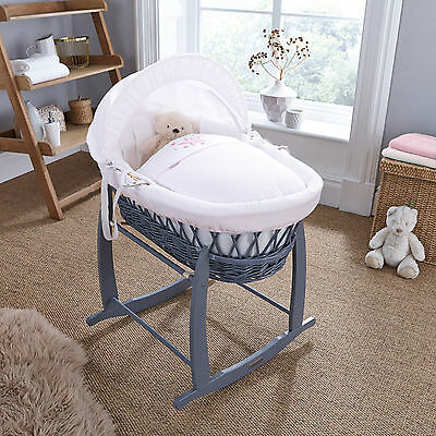New 4Baby Twinkle Pink Stars Padded Grey Wicker Moses Basket & Rocking Stand