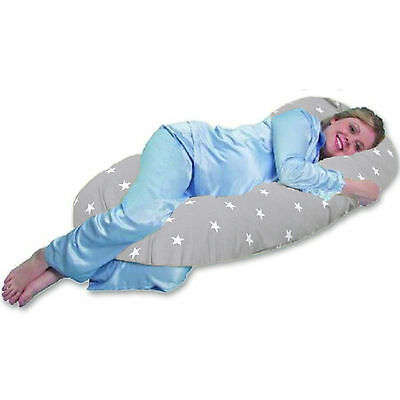4Baby Grey / White Stars 9Ft Body & Baby Sleep Support Pillow Maternity Cushion