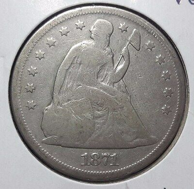 1871 Seated Liberty Dollar Solid VG Original coin