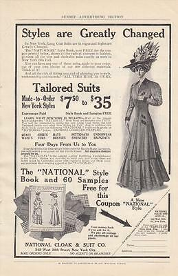 1908 National Cloak & Suit Co New York NY Ad: Long Coat Suits are in Vogue
