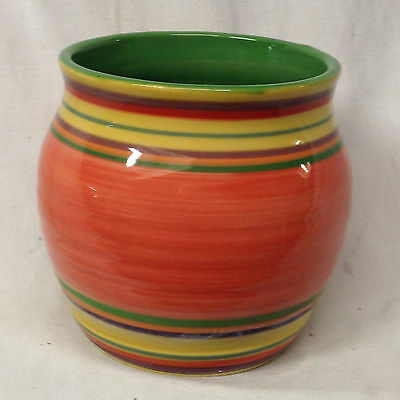 "Pacific Rim Santa Fe Herb Pot 3 1/2"" Green Interior Multicolor Rings Red Band"