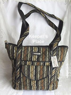 Longaberger Khaki Stripe Faux Leather Trim Quilted Bag Tote Retired New Tag