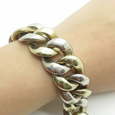 Vtg 925 Sterling Silver Hollow Wide 2 Tones Cuban Link Bracelet 7 3/4""