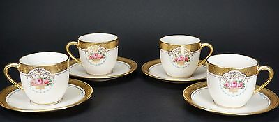 Antique Hand Painted Roses Turquoise Raised Gold 4 Lenox Demitasse Cups Saucers