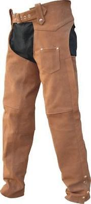 New Mens Premium Nubuck Brown Buffalo Leather Biker Motorcycle Chaps Reg $149