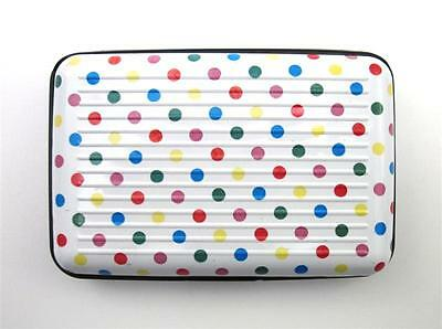 Aluminum Indexer Accordion Credit Card Holder Id Case Rfid ~ Colored Dots ~ New