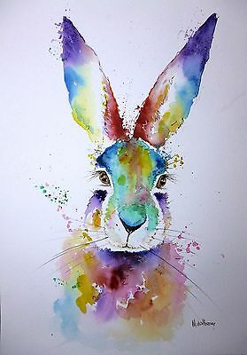 """HARE""  LARGE A3 16"" x 12"" ORIGINAL Watercolour Painting by Maria Moss"