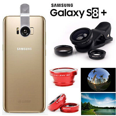 3in1 Fish Eye+ Wide Angle + Macro Camera Clip-on Lens Samsung Galaxy S8 S8 Plus+