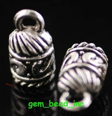 100Pcs End Bead Stopper Caps Fit 5mm Cord Silver Necklace Jewelery Finding