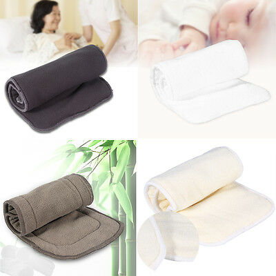 3/4/5 Layers Reusable Adult Bamboo Incontinent Nappy Insert Pad Diaper Liner dy