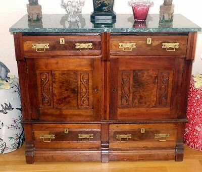 1885 Vintage Antique Dining Room Side Board Sideboard Buffet W/ Marble Top