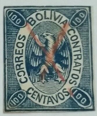 Bolivia Scott#8 Used  Stamp Scu999Kk ....worldwide Stamps