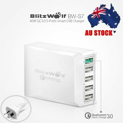 AU BlitzWolf QC3.0 Power3S Smart 5 Port Quick Charge Wall USB Charger AU Adapter