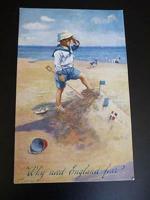 Celesque Series 811 Child Postcard WHY NEED ENGLAND FEAR
