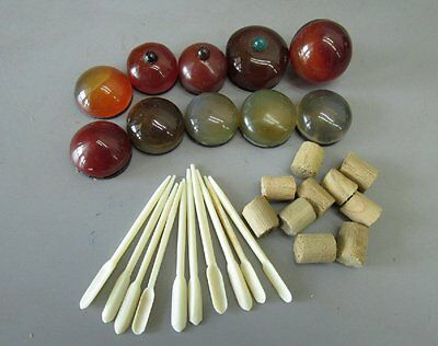 A Set Of (10) Chinese Agate Snuff Bottle Tops & Spoons