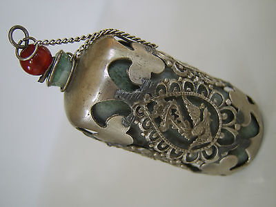 Old Chinese Snuff Bottle White Metal Jade Or Hardstone Liner Seal Mark To Base