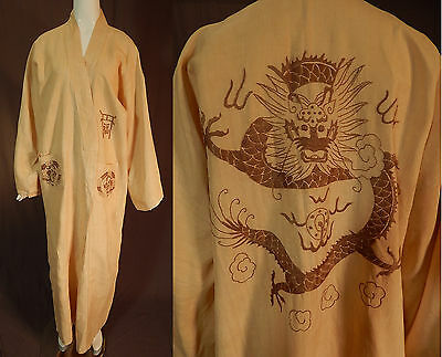 Vintage Antique Chinese Dragon Pearl Brown Embroidered Linen Long Kimono Robe