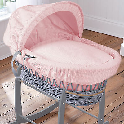 Clair De Lune Deluxe Padded Grey Wicker Waffle Pink Moses Basket With Mattress
