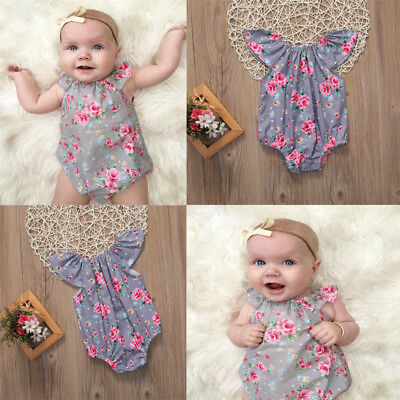 Summer Newborn Baby Girls Floral Romper Bodysuit Outfits Sunsuit Clothes 0-18M