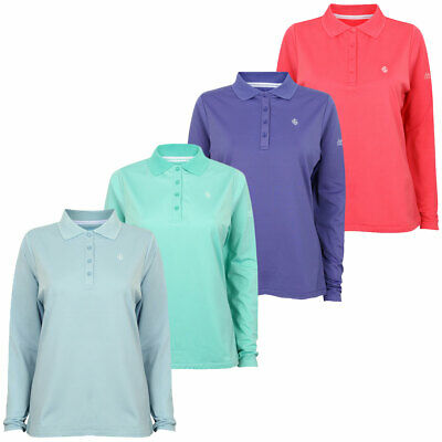 Island Green 2017 Ladies Long Sleeve 4 Button Golf Polo Shirt 32% OFF RRP