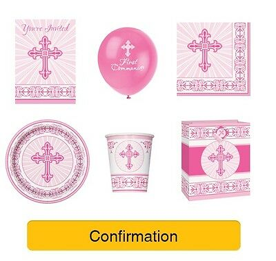 CONFIRMATION Party Range PINK/GIRL - UNIQUE RADIANT CROSS Decorations Napkins