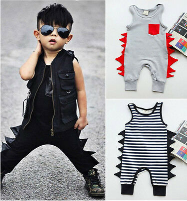 Cotton Newborn Baby Boy Sleeveless Romper Jumpsuit Playsuit Outfit Clothes 0-24M