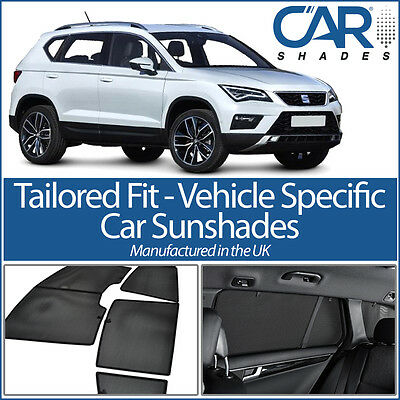 Seat Ateca 5dr 2016 On UV CAR SHADES WINDOW SUN BLINDS PRIVACY GLASS TINT BLACK