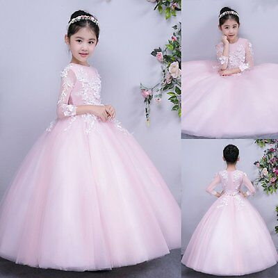 Flower Girl Dress Kids Party Wedding Bridesmaid Pageant Formal Gown Tutu Dresses