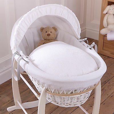 New Clair De Lune White Waffle Padded White Wicker Baby Moses Basket & Mattress