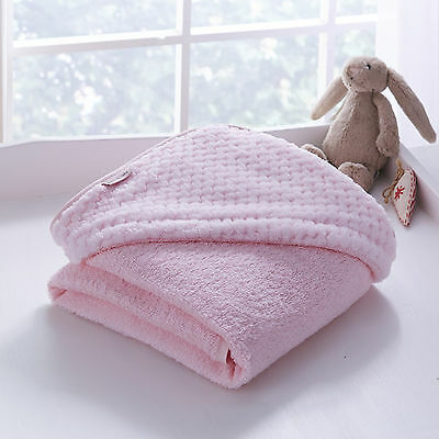 New Clair De Lune Honeycomb Pink Baby Girls Luxury Soft Hooded Bath Time Towel