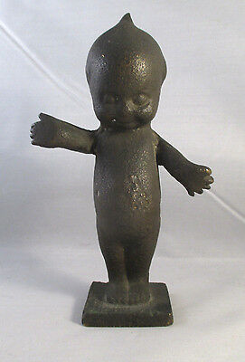 UNIQUE ANTIQUE Vintage SOLID BRASS BRONZE KEWPIE FIGURINE PAPERWEIGHT? 5.75""