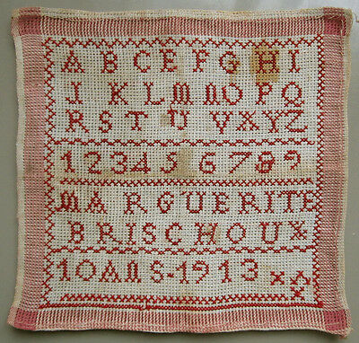 1913 Sweet French Red Alphabet Sampler Signed 'marguerite Brischoux'