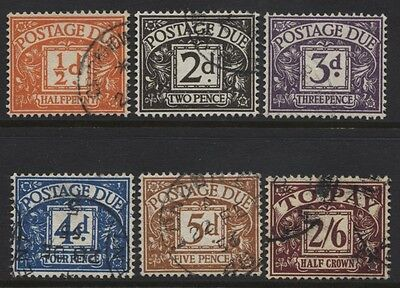 1954-5 ½d-2/6 TUDOR CROWN WMK POSTAGE DUE SET VFU. D40-45