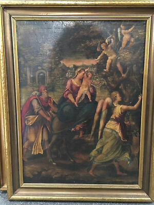 19th Century Oil on Canvas Masters Style Circa 1850 Framed Antique Art