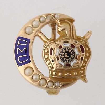 Demolay PMC Pin - Seed Pearls 10k Yellow Gold Masonic Crescent Crown Crest