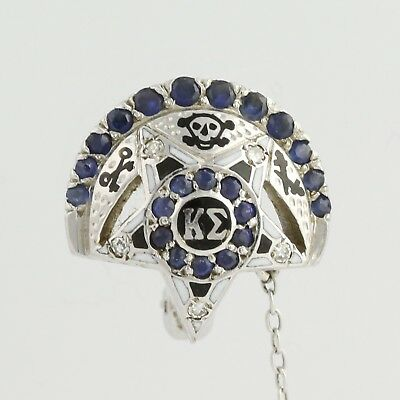 Kappa Sigma Badge - Vintage Diamonds & Sapphires 10k White Gold Greek Fraternity