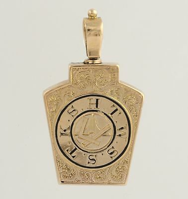 York Rite Royal Arch Vintage Fob Pendant - 12k Yellow Gold Antique Masonic Men's