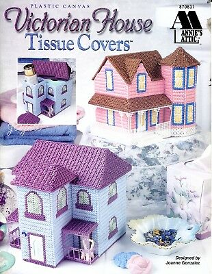 Victorian House Tissue Covers ~ Organizers plastic canvas pattern booklet NEW