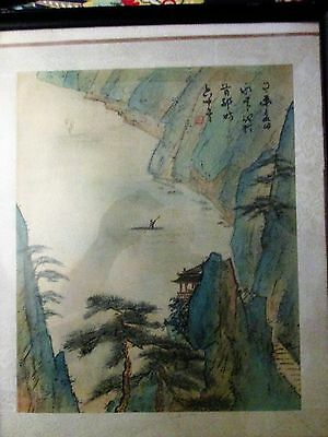 """Antique Chinese  Watercolor On Paper Painting """"water Scene""""signed, #1"""