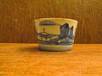 Antique Japanese Porcelain Tea Sake Cup Blue and White Landscape 19th c.